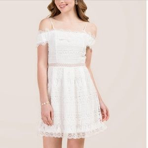 Francesca's off the shoulder White Lace Dress